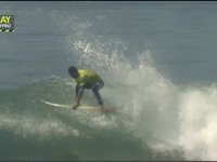Heitor Alves's mind blowing 360 Rodeo Flip while surfing his heat at the Trestles Pro