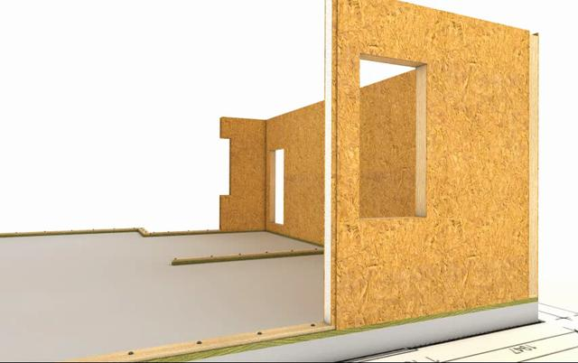 Animation of construction of wooden house made by technology sip