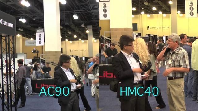 Panasonic AG-AC-90 & HMC40 side by side, taken at DV Expo