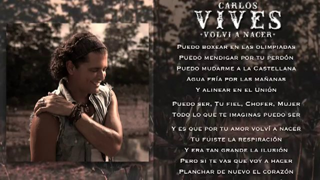 MUSICA PARA EL ANIMO: Volvi a Nacer (Carlos Vives)