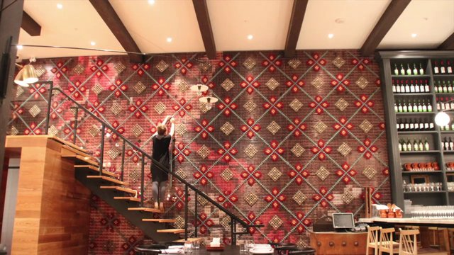 Making of Patria Restaurant Cross Stitch Art Installation