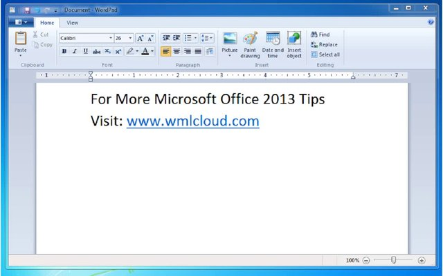 Screen Shot of Microsoft Word 2013 Screen