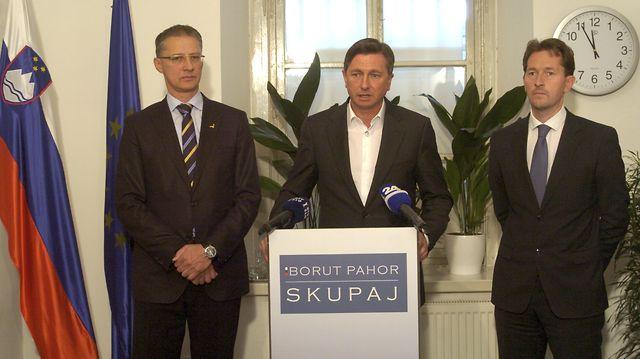 Borut Pahor s podporo predsednika SD Igorja Lukšiča in predsednika DL Gregorja Viranta