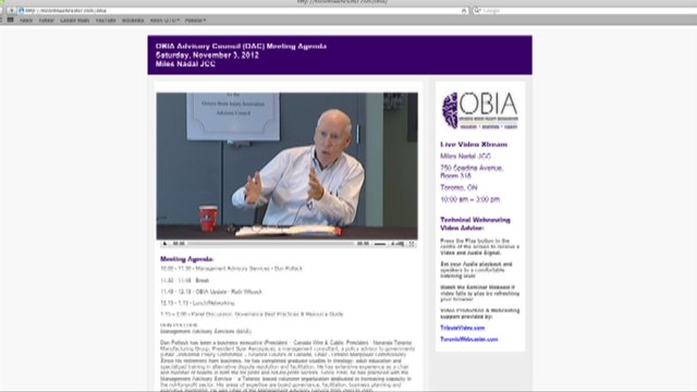 OBIA NOV. 3, 2012 Live Webcast Sample Screengrab