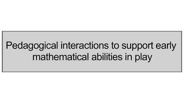 Supporting Early Mathematical Abilities In Play