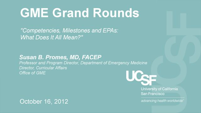 October 16, 2012 - GME Grand Rounds: Susan B. Promes, MD, FACEP