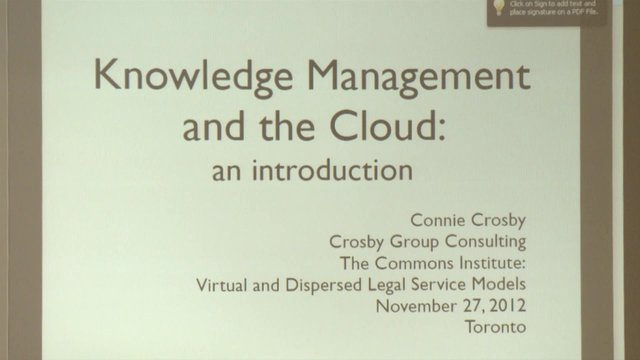 Knowledge Management and the Cloud by Connie Crosby,  The Commons Institute, November 27, 2012 Webcast at The Old Mill