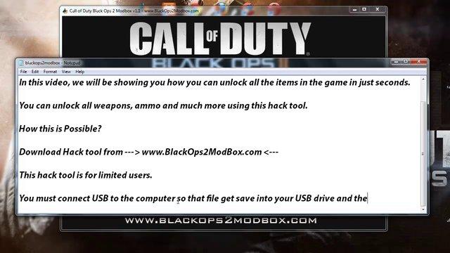Unlock All items using Black Ops 2 Modbox