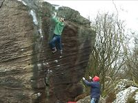 Jordan Buys, First ascent of Time and Tide, E7 7a, Brimham Rocks, Yorkshire, UK.