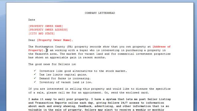 real estate marketing letter