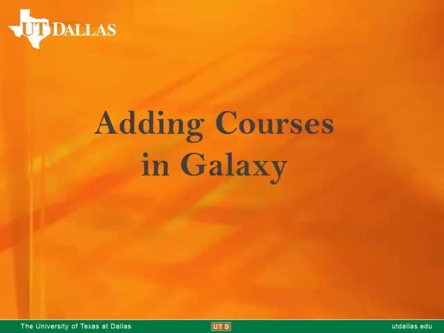 How to add Courses in Galaxy