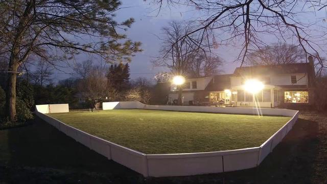 Backyard Rink With Shed Locker Room