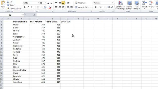 Calculate effect size with add-in