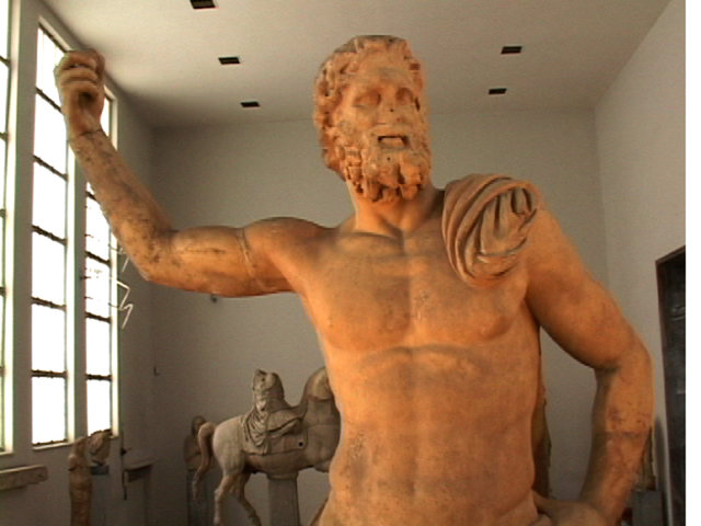 Ancient Neptune Statue Roman God Sculpture Stock Photo