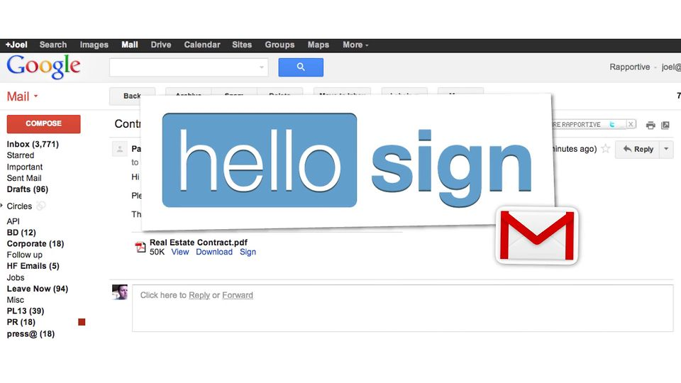 Hellosign digitally signs documents right from gmail for Digitally sign documents free