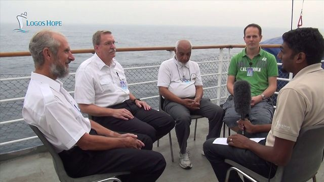 Logos Hope, Dec 2012: Four Captains on the Ship