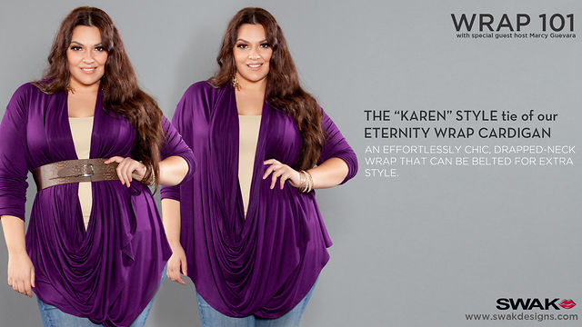 "SWAK Designs Wrap 101 - The ""Karen"" Style for our Eternity Convertible Cardigan"