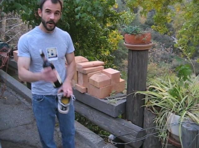 Opening a bottle of wine with a shoe