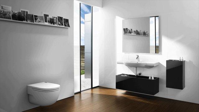 roca montre un de ses mod les innovant de wc suspendu on vimeo. Black Bedroom Furniture Sets. Home Design Ideas