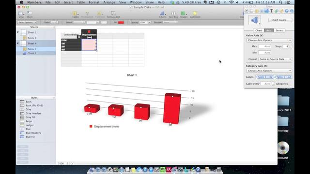 how to make a bar graph in numbers mac