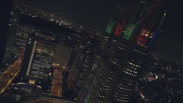 Lighting up, Tokyo Metropolis Office Tower (March 5th. 2013)