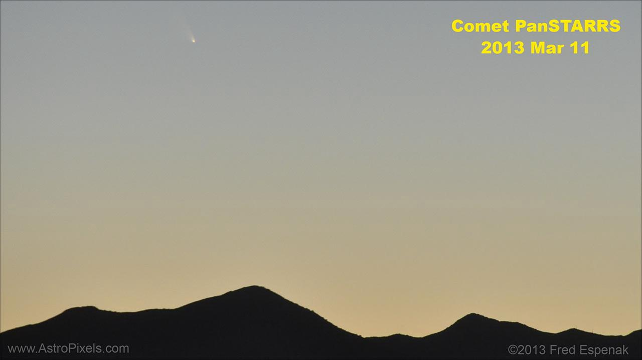 Comet PanSTARRS -- The Movie: On the evening of March 11, 2013, Comet PanSTARRS was captured in a time lapse sequence as it set over the Dos Cabezas Mountains.