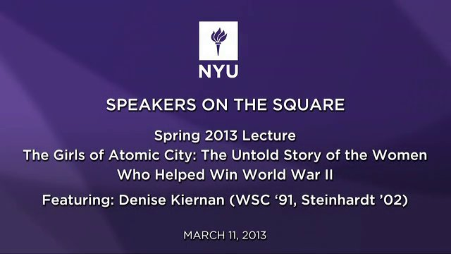 Speakers on the Square: Denise Kiernan (WSC '91, STEINHARDT '02)