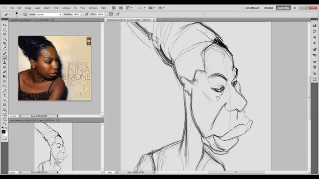 Nina Simone caricature drawing