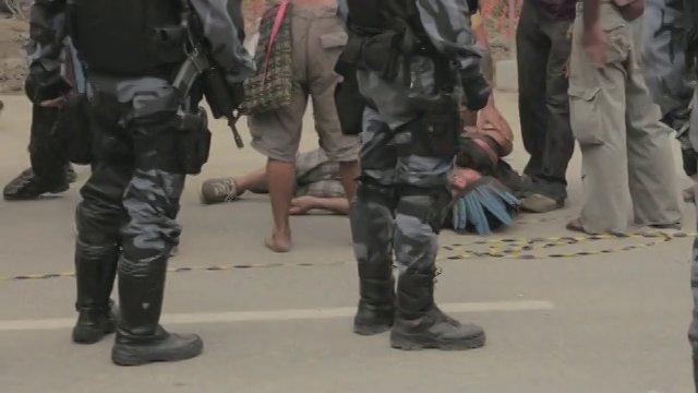 Brazilian riot police storm indigenous people near Rio's Maracanã stadium