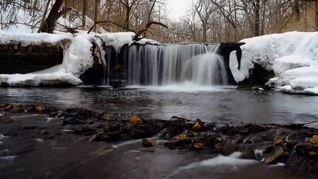 South Fork River winter waterfall-River Falls WI