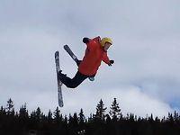 Riktigt hård landning på skidor