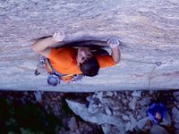 BD athlete Alex Honnold making the first ascent of A Gift From Wyoming (5.13) on Yosemite's Leaning Tower 2