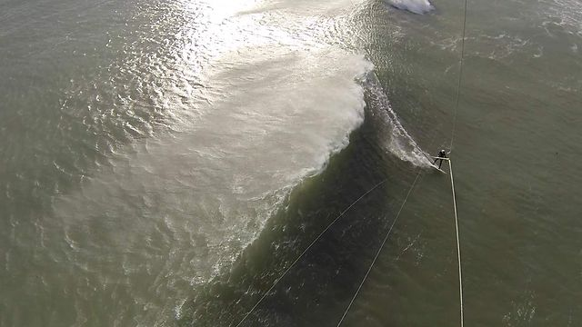 Drone Video of Kitesurfing: Long Waves
