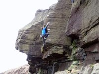 Nathan Lee making the 3rd ascent of Order of the Phoenix