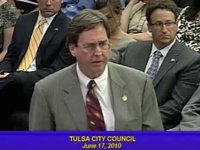 Mayor Dewey Bartlett speaks to the City Council about police helicopters on June 17, 2010