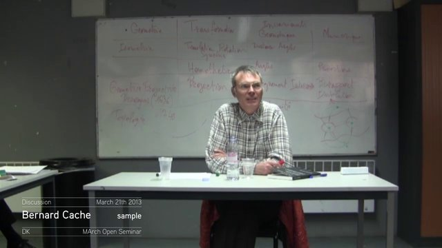 Sample of the discussion with Bernard Cache | March 21th 2013