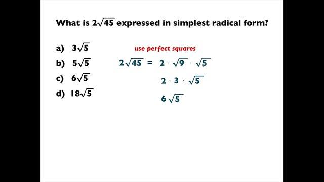 Simplest – Simplest Radical Form Worksheet
