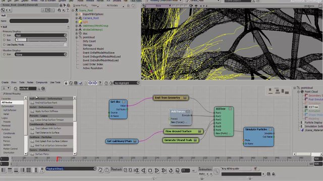 Maya\Softimage crossbreeding. Softimage ICE strands and Maya Paint Effects