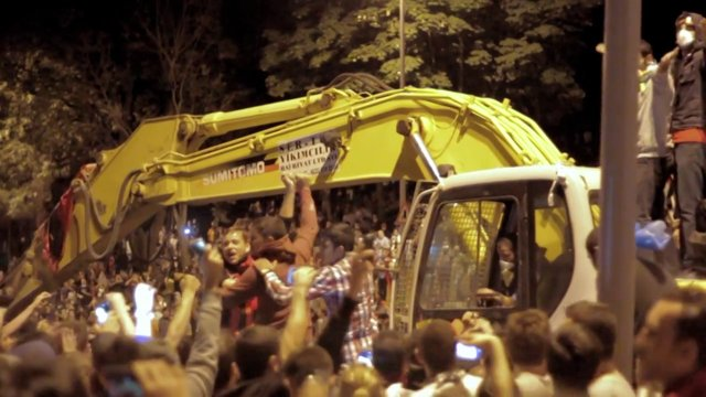 Occupy Gezi - Hijacked excavator