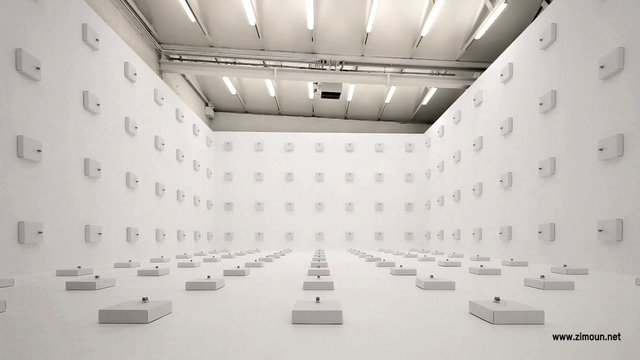 Zimoun : 198 prepared dc-motors, wire isolated, cardboard boxes 30x30x8cm, 2012