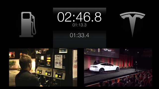 Tesla Model S car battery swapped in HALF the time it takes to fill gas in a car.