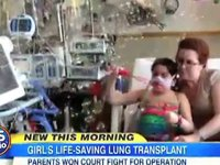 A girl's life is saved with a lung transplant