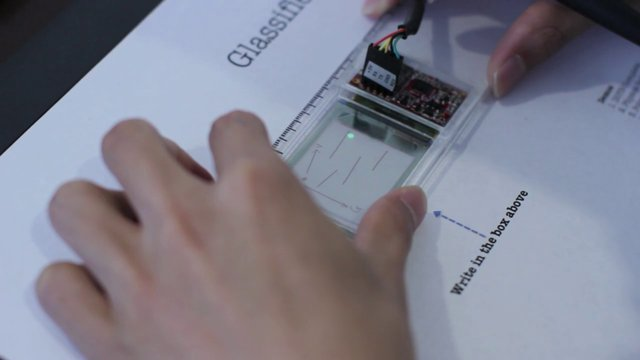 Glassified: Ruler with transparent display to supplement physical drawing
