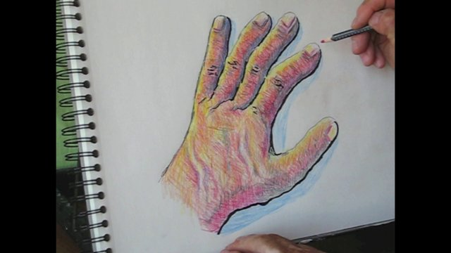 Como dibujar una mano con l pices de colores on vimeo - Como pintar azulejos a mano ...