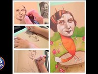 Artist mom lets her daughter finish her drawings