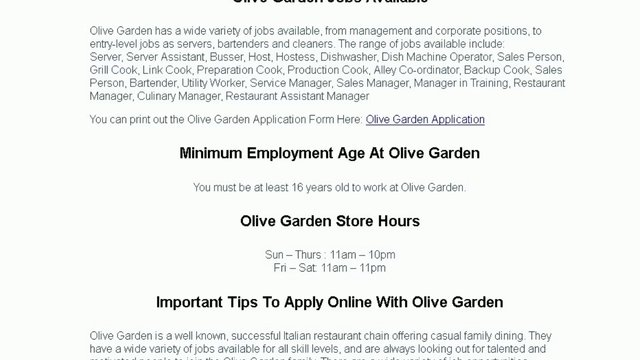 Employment Application Olive Garden Employment Application