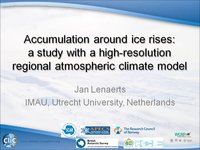 J Lenaerts - Accumulation around ice rises a study with a high-resolution regional atmospheric climate model