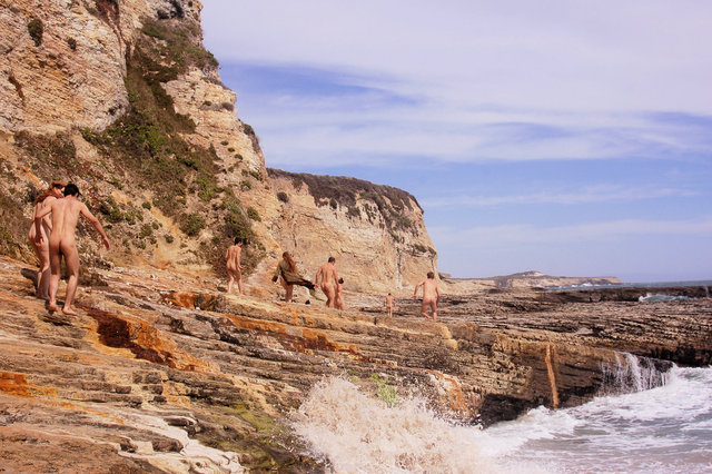 Prowling Panther Beach - nudist group explores oceanside rock