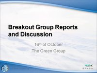 WCRP 16/10-7 Breakout Group Reports and Discussion: Green Group