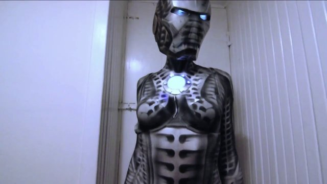 Biomechanical Iron Man (Iron Maiden) Body Paint Cosplay